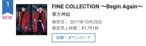 [INFO] 171025 Tohoshinki de nouveau en tête du classement Oricon!