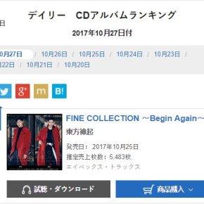 [INFO ] 171028 Tohoshinki – 1er du classement Oricon, 4 jours d'affilée!